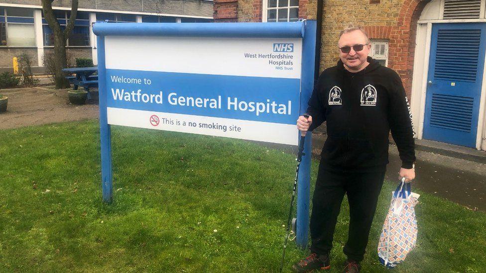 Clint Whitaker outside Watford General Hospital