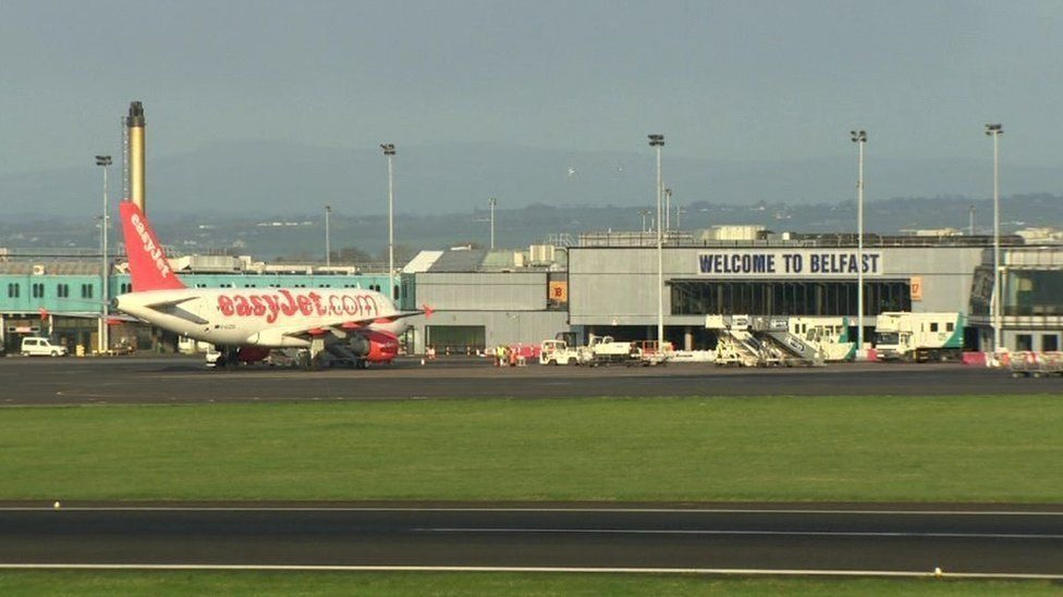 Easyjet plane at Belfast International Airport