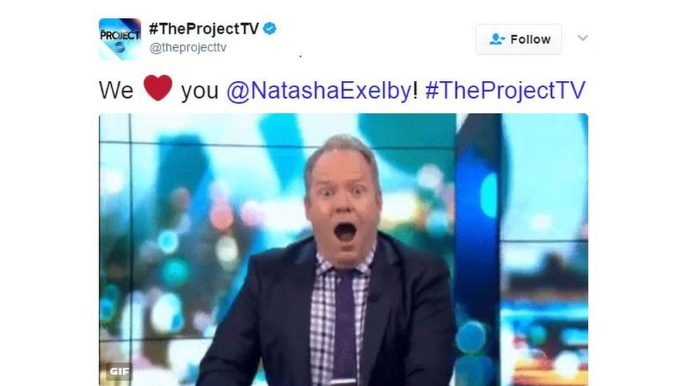 """A tweet by The Project shows comedian Peter Helliar imitating Exelby's gaffe and is captioned: """"We love you @NatashaExelby!"""""""