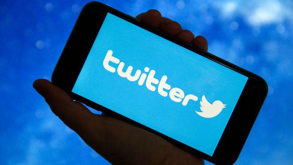Twitter on phone screen