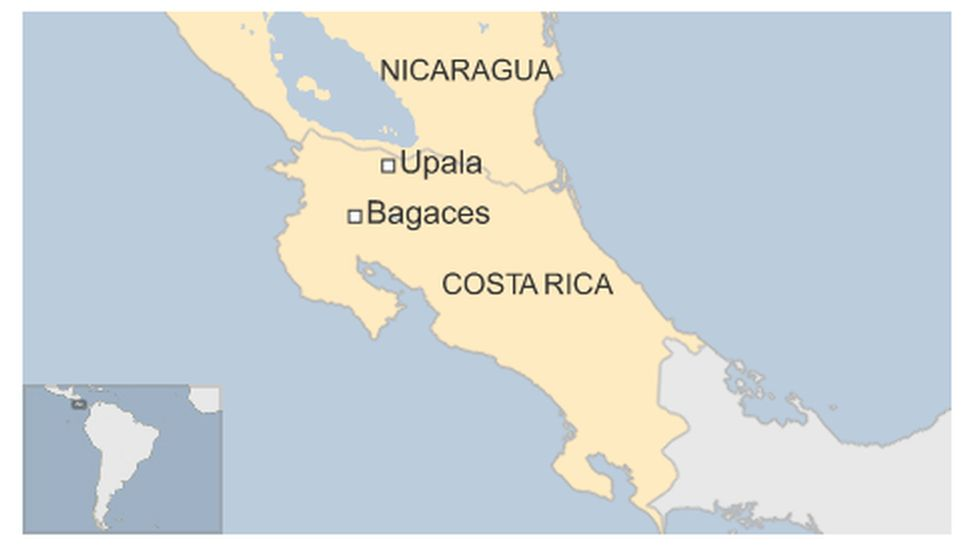 Map of Costa Rica highlighting Upala and Bagaces