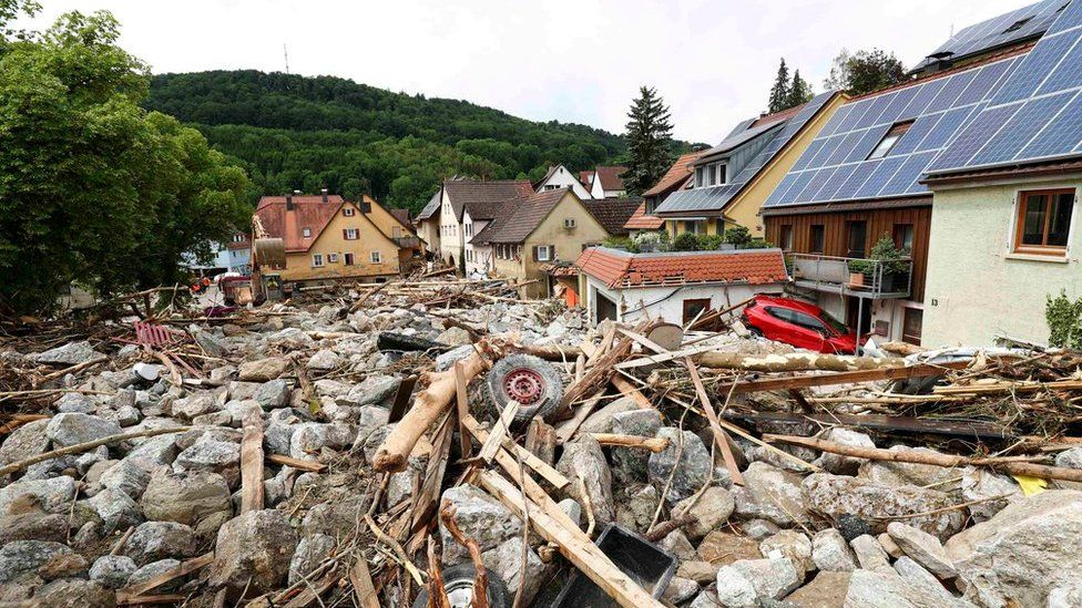 Flood damage in Braunsbach, in Baden-Wuerttemberg, Germany, 30 May