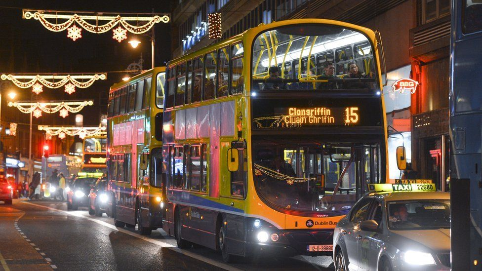 Dublin Bus on a Dublin street at Christmas