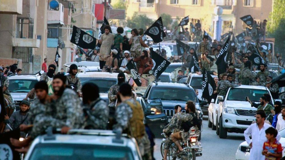 Islamic State fighters in Raqqa, Syria (file image)