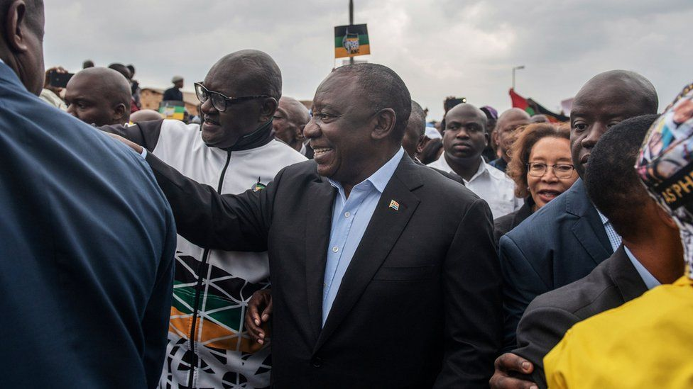 President Cyril Ramaphosa arrives to cast his vote at a primary school in Soweto on May 8