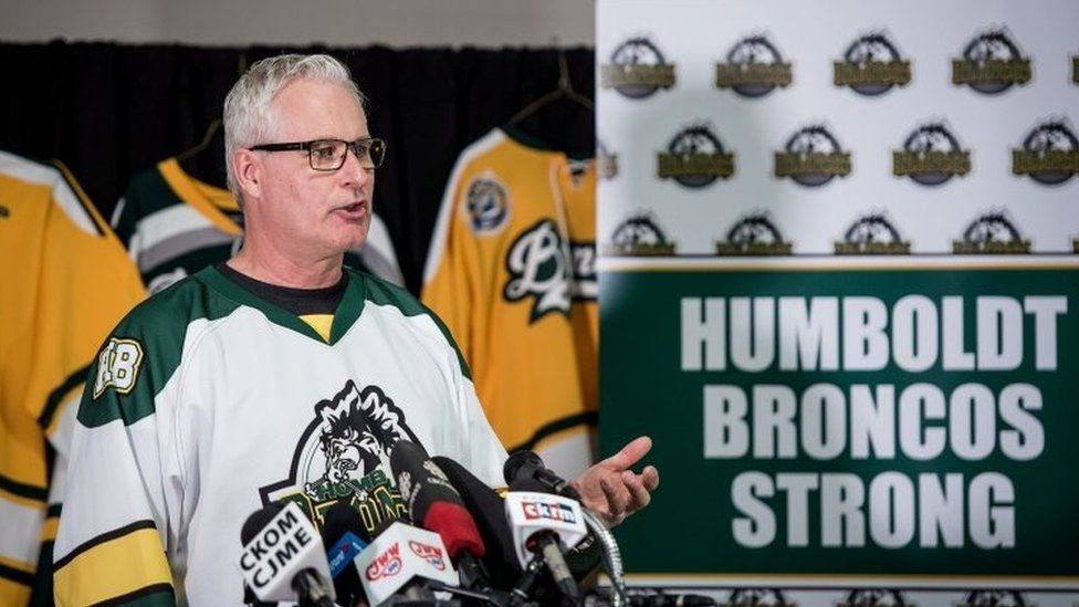Rob Meunch speaks at press conference in Humboldt arena on Saturday