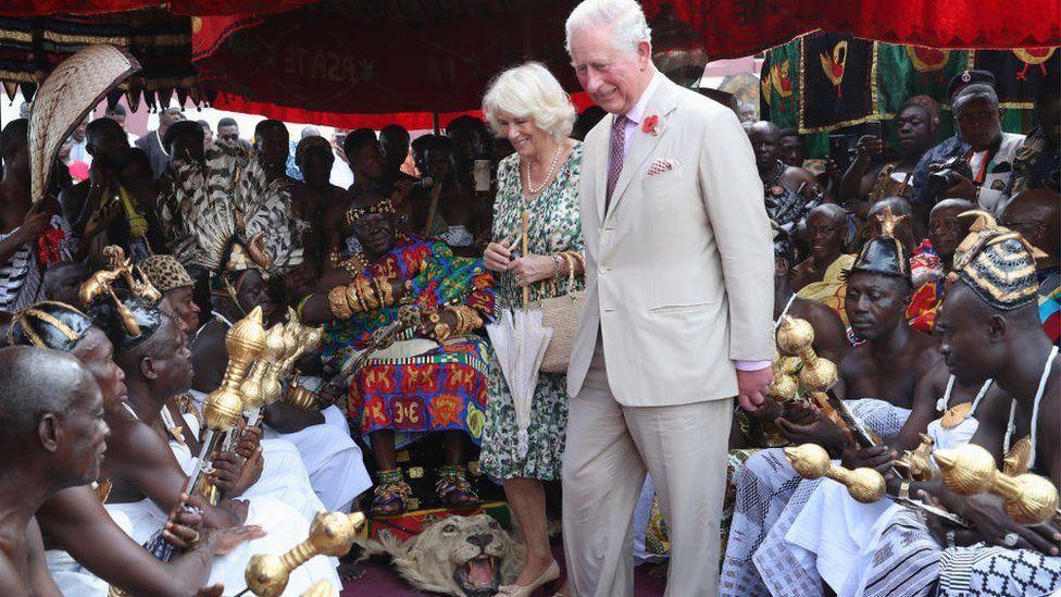 Prince Charles, Prince of Wales and Camilla, Duchess of Cornwall meet with King Otumfuo Nana Osei Tutu II at a Durbar and Tea with the Asantehene at Manhiya Palace on November 4, 2018 in Kumasi, Ghana