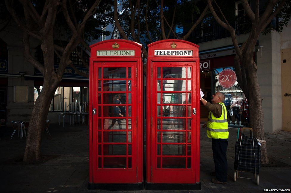 Red phone boxes in Gibraltar