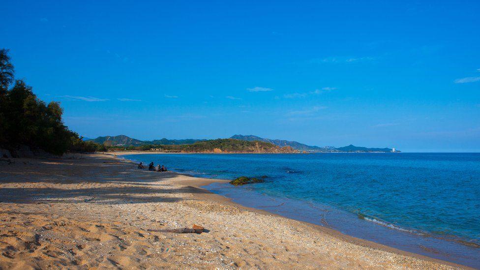 A beach in Hamhung, North Korea
