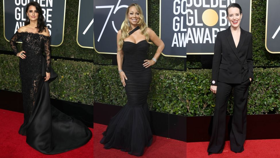 f344fdd55f43 Golden Globes 2018  Stars wearing black on the red carpet - BBC News