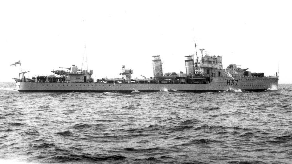 British Royal Navy Battleship Destroyer HMS Garland at sea, date unknown