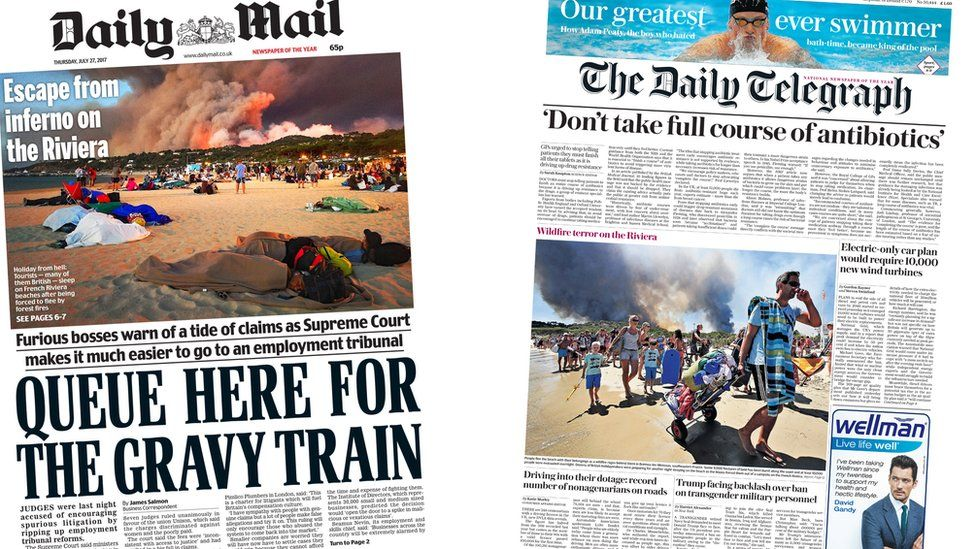 Daily Mail and Daily Telegraph front pages for 27/07/17
