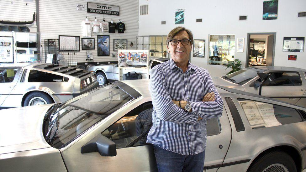 Mr Wynne in the DeLorean shop