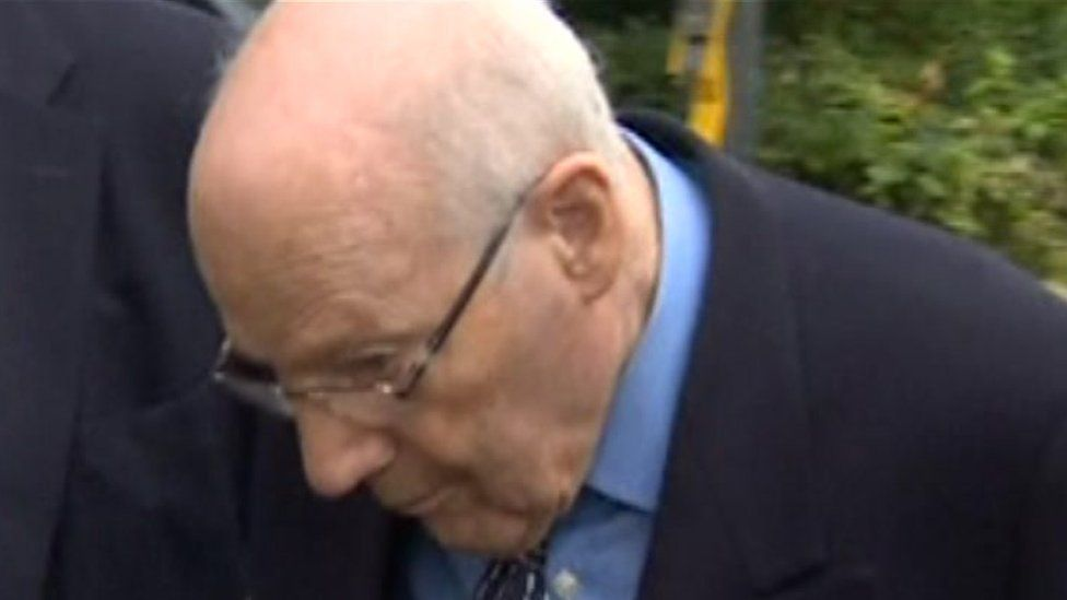 Bishop Peter Ball arriving at Lewes Crown Court in August 2014