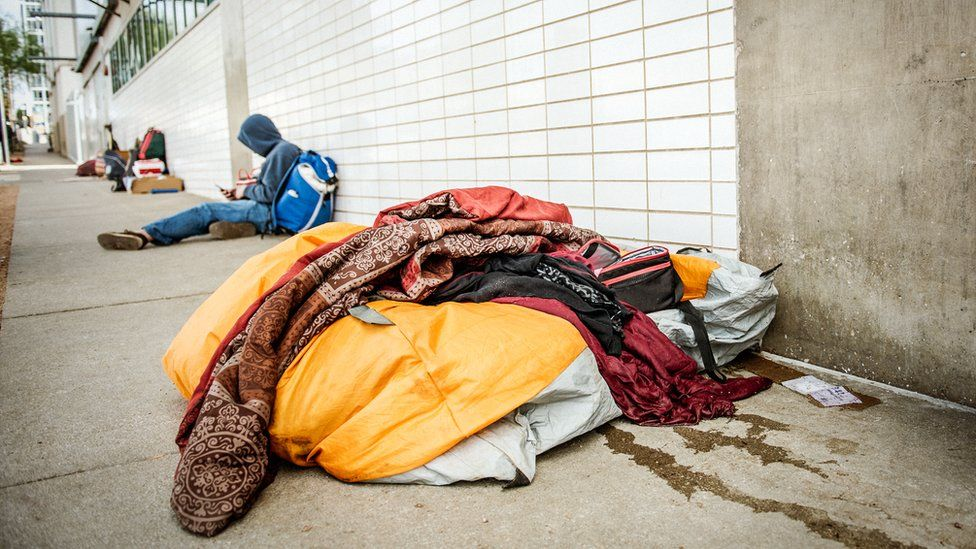 Homeless people on the streets of Austin