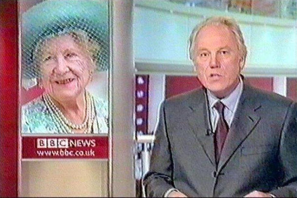 Peter Sissons reporting the death of the Queen Mother in 2002