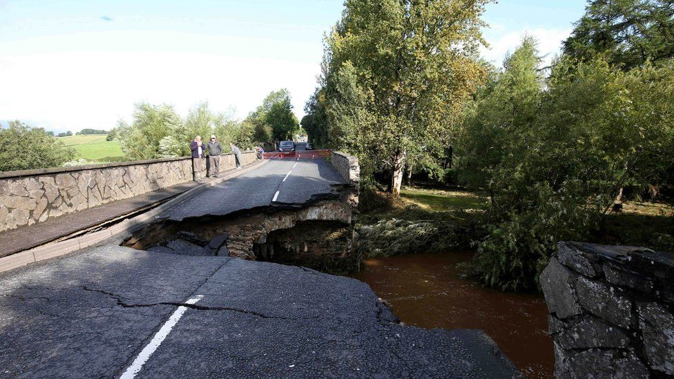 A bridge collapsed in Church Street, Claudy, County Londonderry