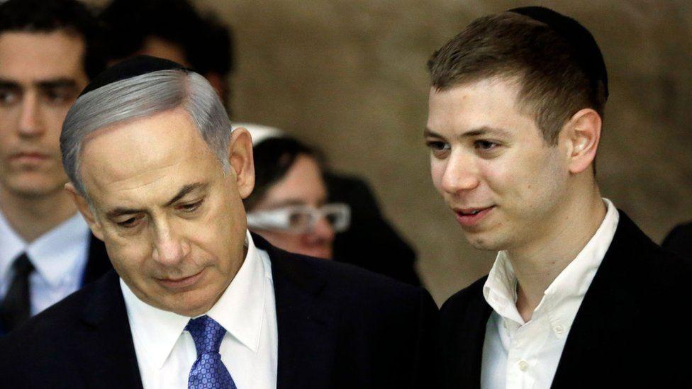 Israeli Prime Minister Benjamin Netanyahu (L) and his son Yair (file photo)
