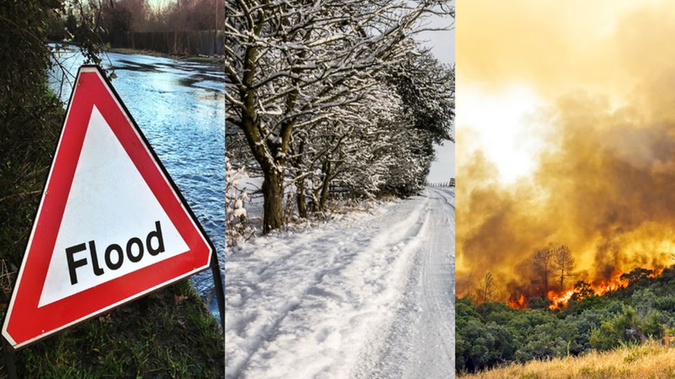 Pictures of flooding, snowy weather and a countryside wildfire