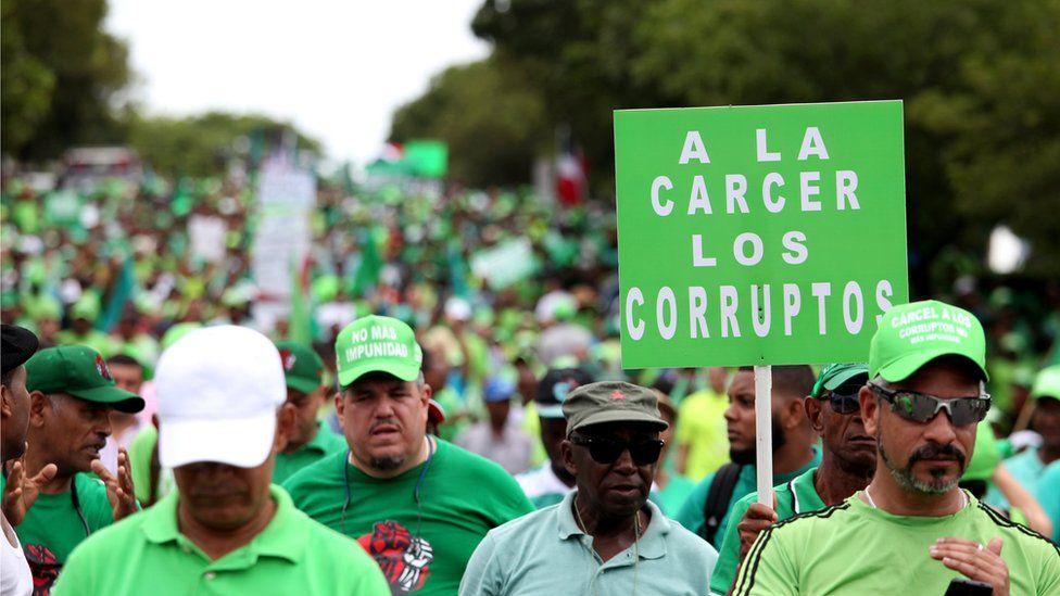 A sea of protesters in the Dominican Republic