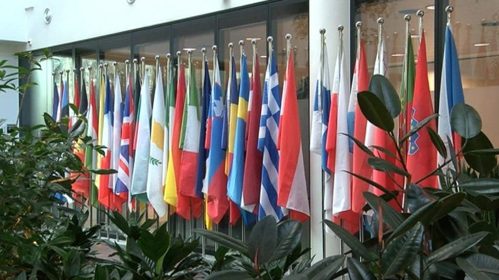 flags at the Europol headquarters