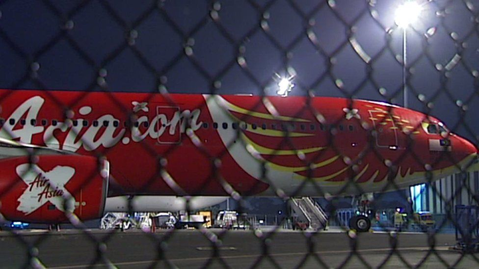 The AirAsia X plane on the tarmac at Brisbane Airport