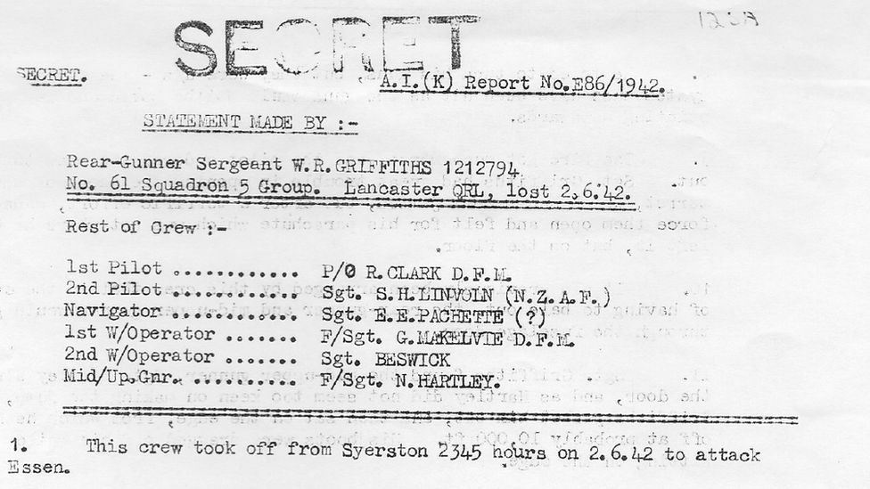 A picture of the statement made by Sgt Griffiths on return to Britain