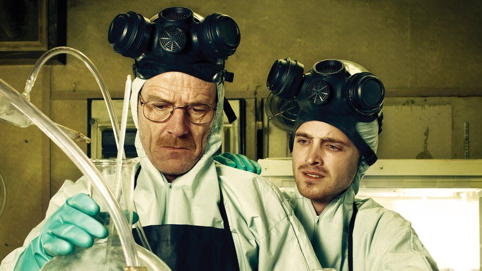 L to R: Bryan Cranston as Walter White and Aaron Paul as Jesse Pinkman