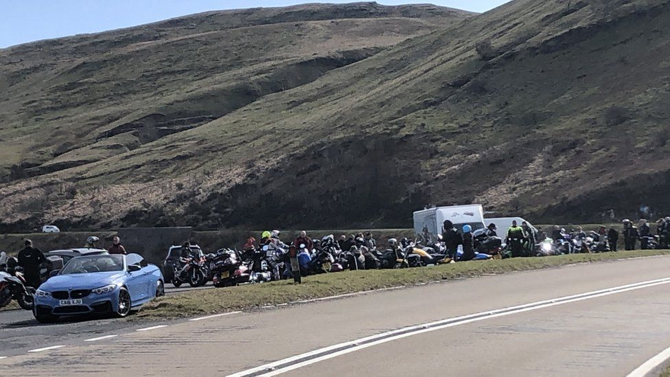 People gathering near Storey Arms in the Brecon Beacons