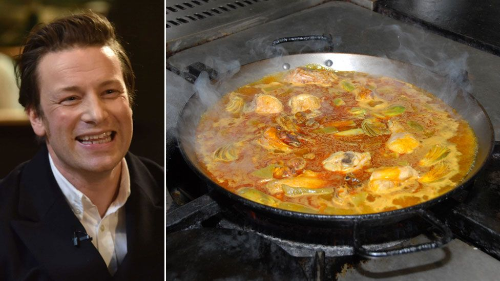 Chef Jamie Oliver (l) and a traditional dish of Paella