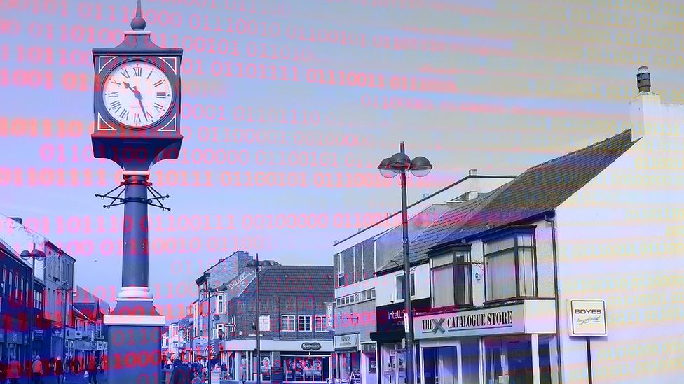 Graphic showing computer code overlaid with an image of Redcar town centre