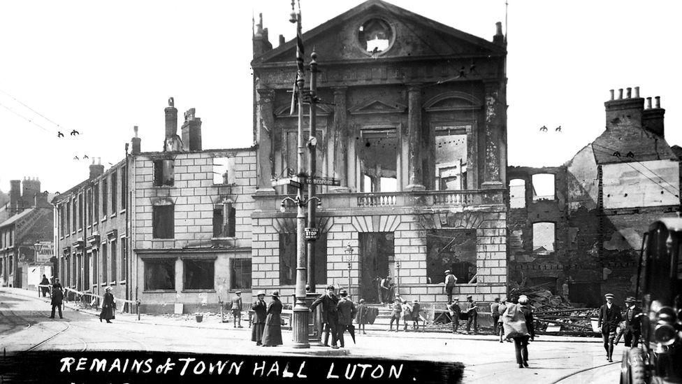 Burnt Luton Town Hall