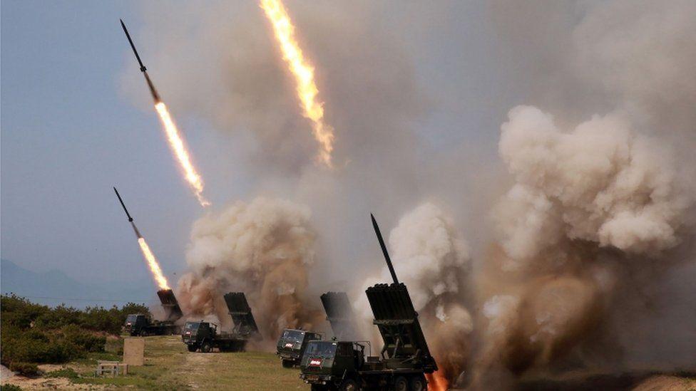 Rocket launchers firing in North Korea, 4 May 2019