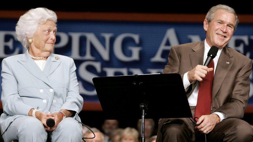 Barbara Bush with son George W Bush