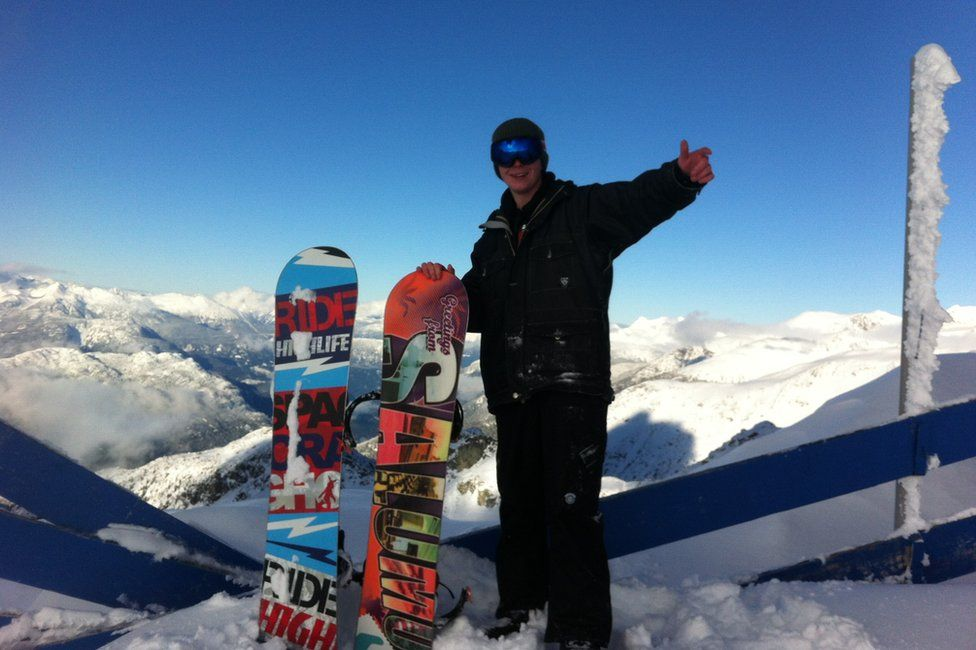 Alex snowboarding