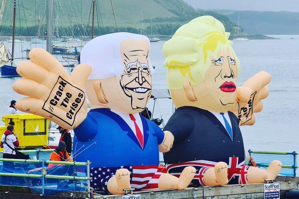 Inflatable Boris Johnson and Joe Biden