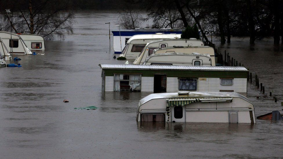 A caravan park in Knaresborough was covered in water after the River Nidd burst its banks