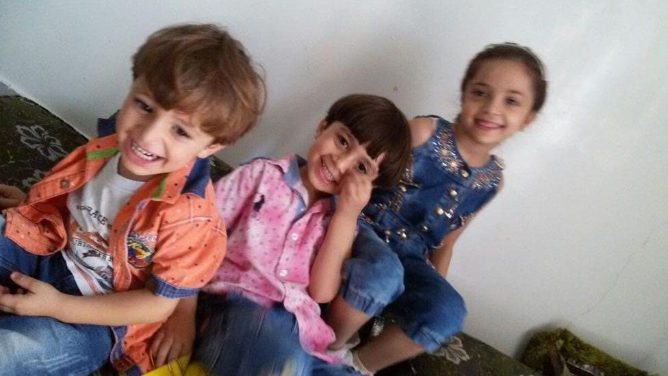 Noor, 3, Mohammed, 5, and Bana, 7, appear in a photo together, which was posted to the Twitter account
