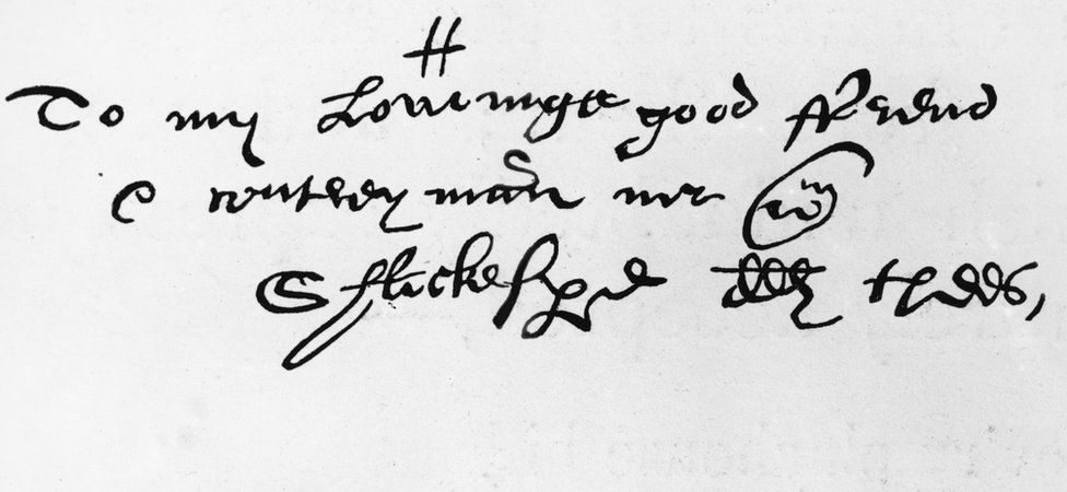 An elaborate and antiquated script addressed to William Shakespeare in 1598 by his friend Richard Quiney. It is so different from modern script that some readers may not be able to figure out its meaning