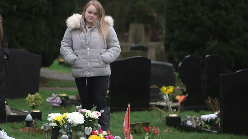 Sophie Fagg at her sister's grave