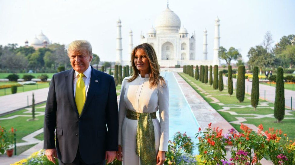 US President Donald Trump and First Lady Melania Trump pose as they visit the Taj Mahal in Agra on February 24, 2020.