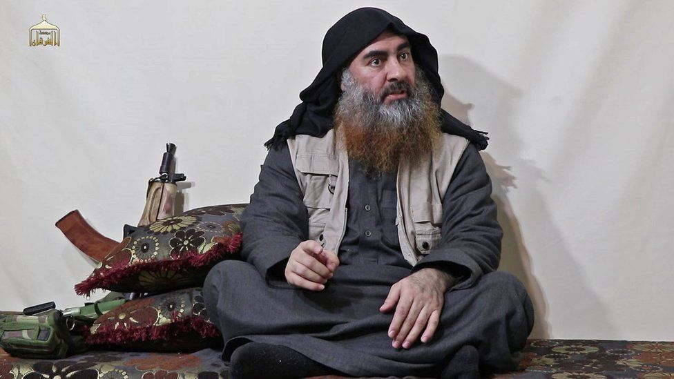 Screengrab of video released on 30 April 2019 showing Abu Bakr al-Baghdad at an undisclosed location