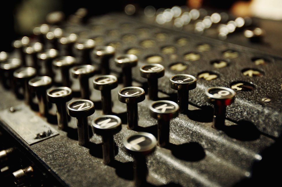 The Enigma coding machine that was used by the Germans in WW2 on display at Bletchley Park