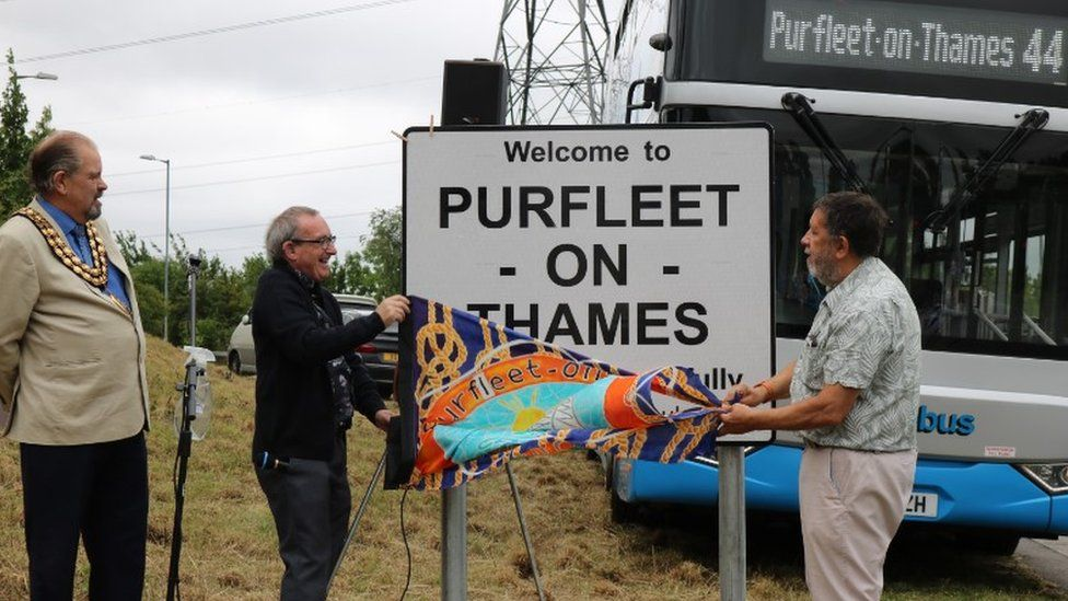 The new Purfleet-on-Thames sign