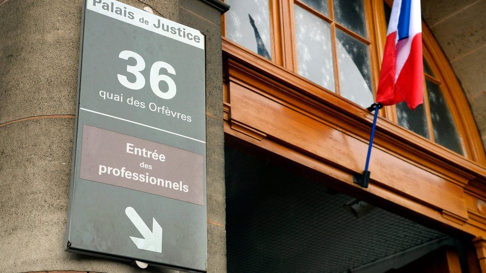 "Entrance to the Direction Regionale de Police Judiciaire (DRPJ), also known by its address the ""36 quai des Orfevres"", in Paris"