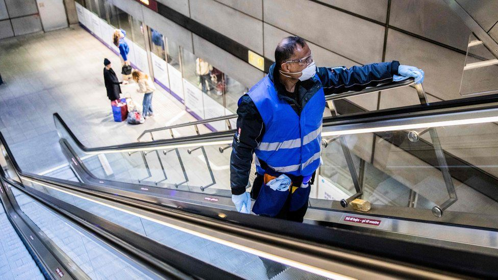 Cleaner in Copenhagen metro
