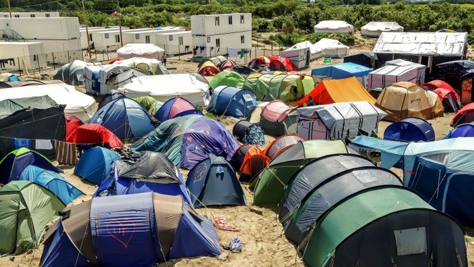Tents in the Jungle camp in Calais