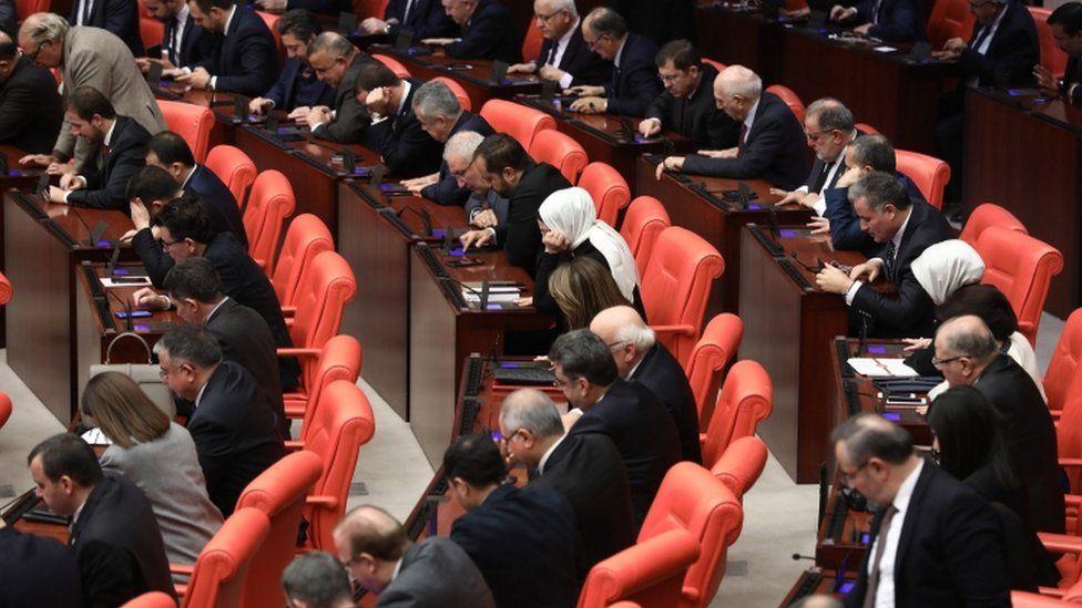 Turkish members of parliament vote to send Turkish troops to Libya, in Ankara