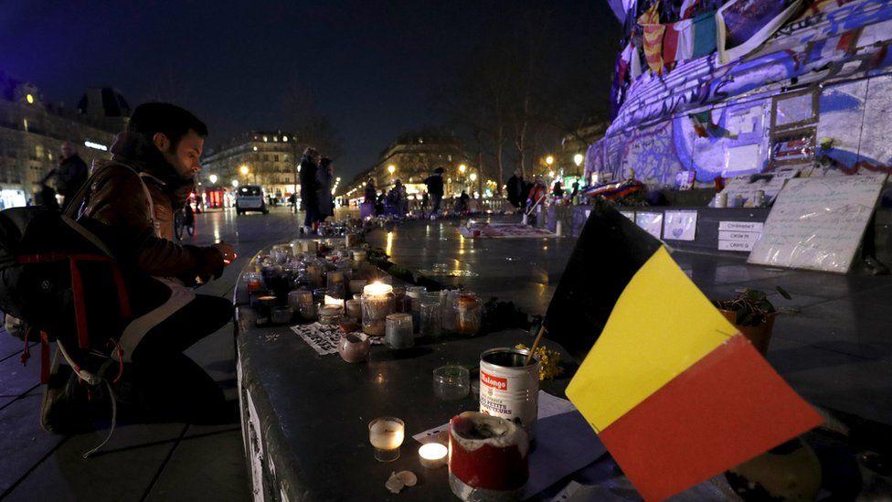 Belgian flag on the Place de la Republique in Paris, France. 22 March 2016