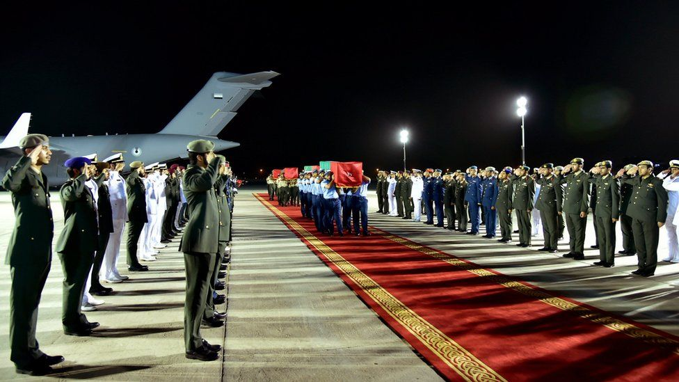 Members of the Emirati armed forces carrying the coffins of comrades killed in Yemen's eastern province of Marib